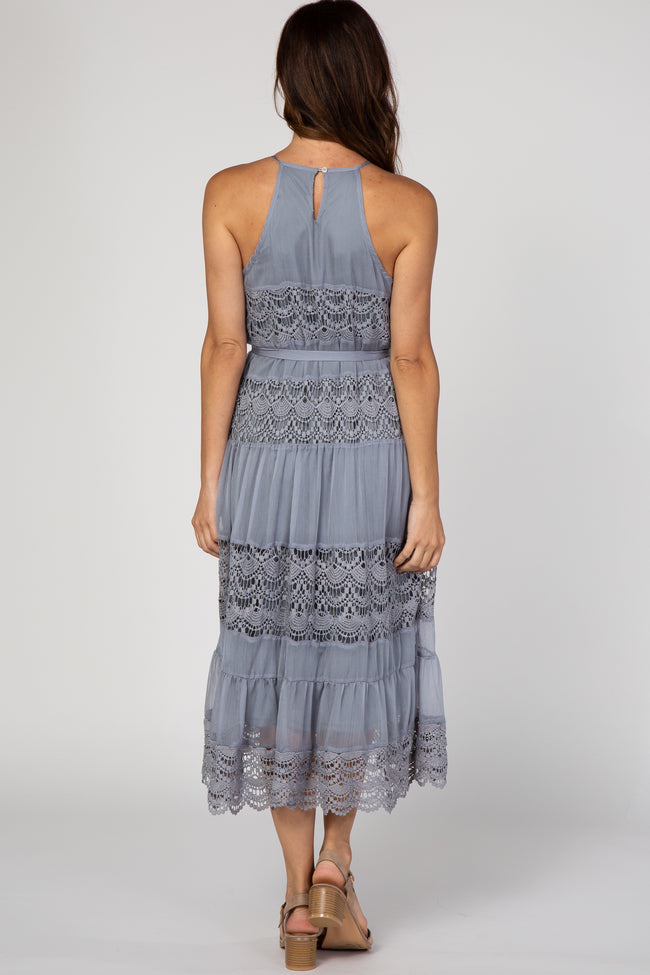 Grey Crochet Chiffon Tiered Midi Dress
