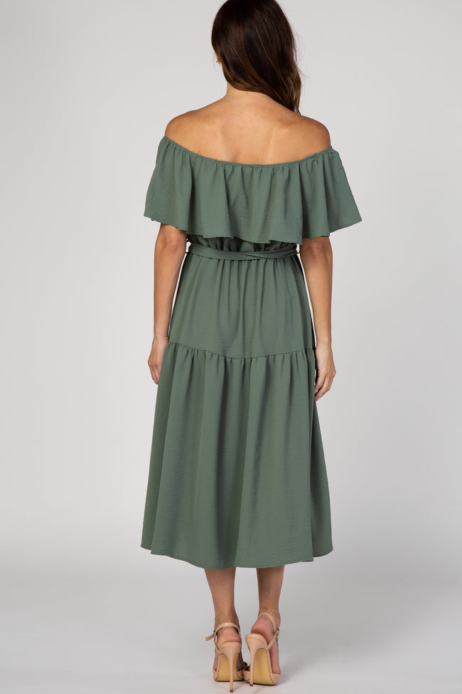 Olive Solid Off Shoulder Ruffle Tie Midi Dress