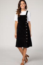 Black Ribbed Button Up Overall Dress