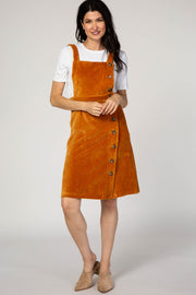 Camel Ribbed Button Up Overall Dress