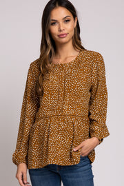 Camel Printed Long Sleeve Peplum Maternity Top