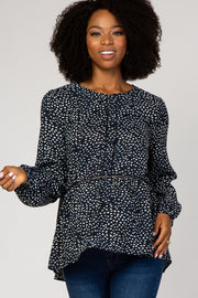 Navy Blue Dot Print Button Maternity Peplum Top