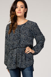 Navy Blue Dot Print Button Peplum Top