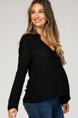 Black Draped Long Sleeve Maternity Wrap Top