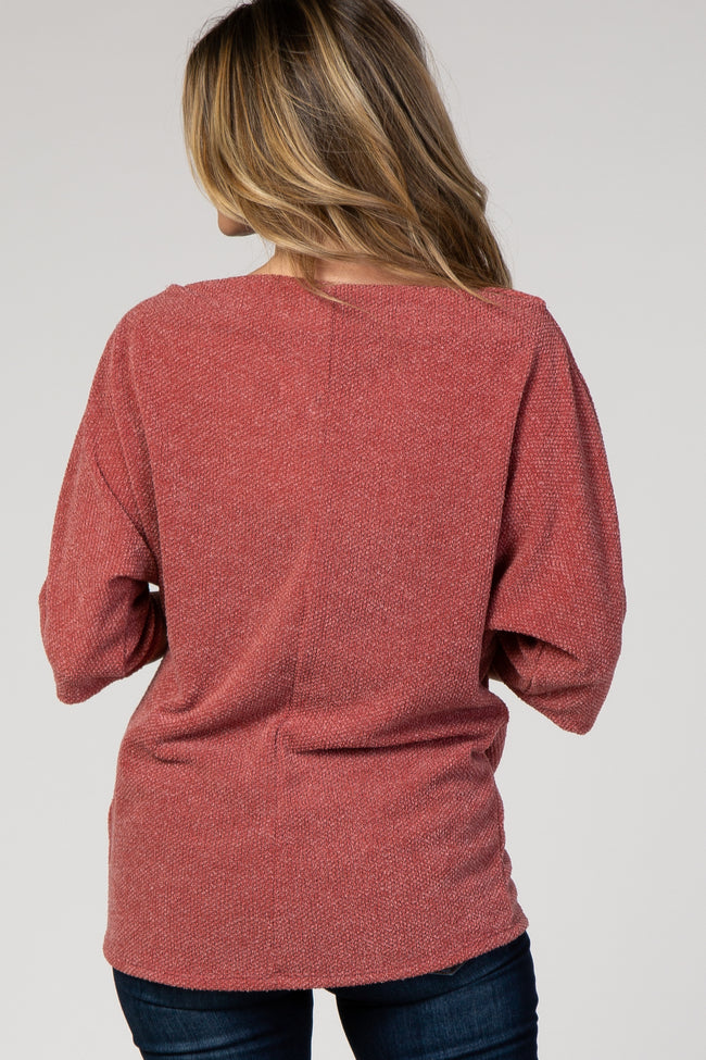 Red Knit Knotted Hem Boatneck Top