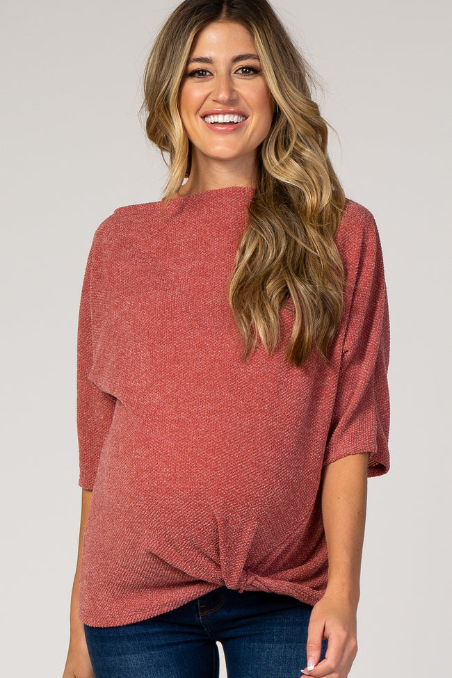 Red Knit Knotted Hem Boatneck Maternity Top