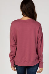 Burgundy Solid Long Sleeve Top