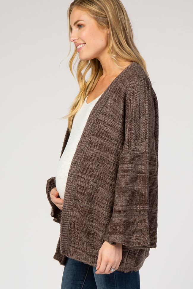 Brown Crop Bell Sleeve Maternity Cardigan