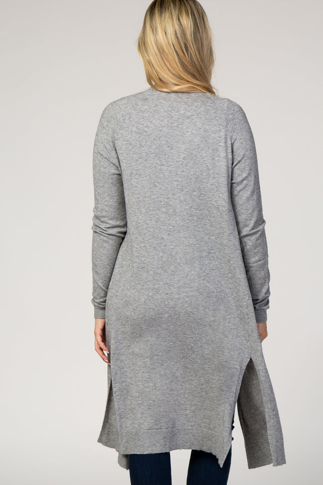 Grey Solid Knit Pocket Front Maternity Cardigan