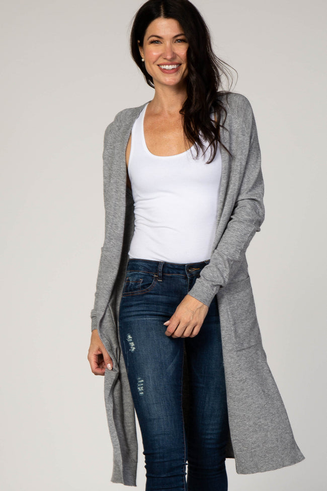 Grey Solid Knit Pocket Front Cardigan