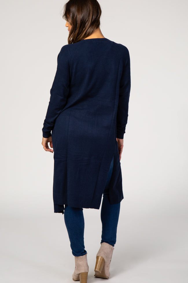 Navy Solid Knit Pocket Front Maternity Cardigan