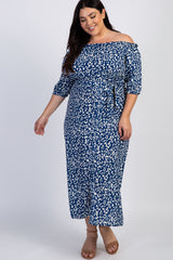 Blue Leopard Print Maternity Plus Dress