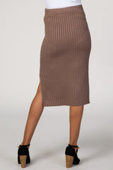 Mocha Ribbed Knit Maternity Midi Skirt
