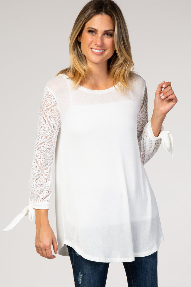Ivory Knit Lace Tie Sleeve Maternity Top