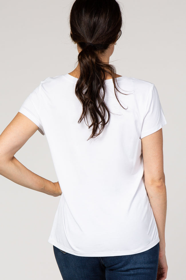 White Cutout Front Short Sleeve Top
