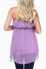 Lavender Flowy Layered Maternity Strapless Top