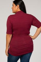 Burgundy Fitted Ruched Plus Maternity Top
