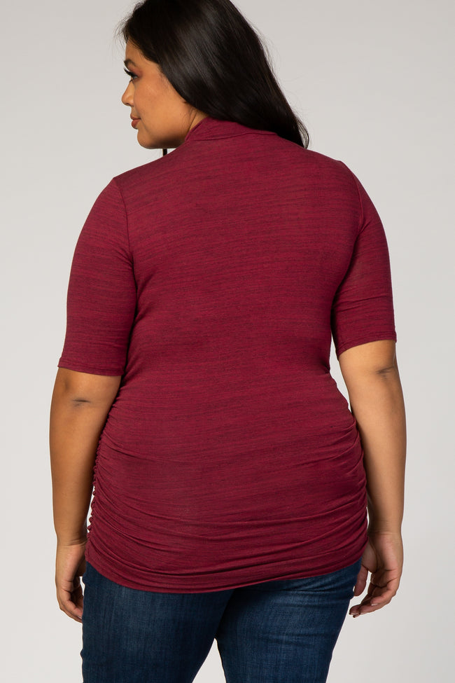 Burgundy Fitted Ruched Plus Top