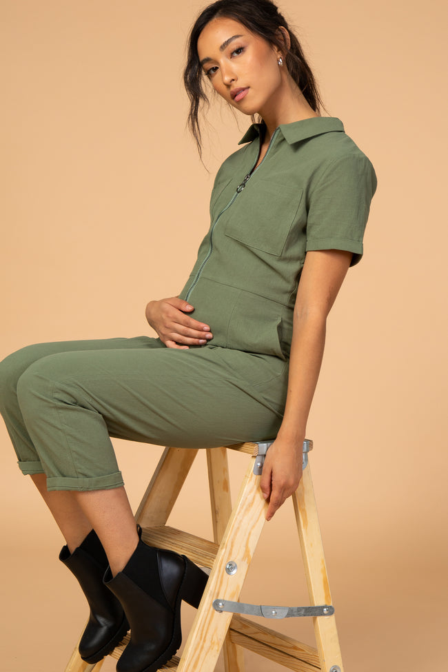 Waverleigh Olive Zipper Front Maternity Jumpsuit