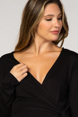 Black Tie Front Long Sleeve Maternity Top