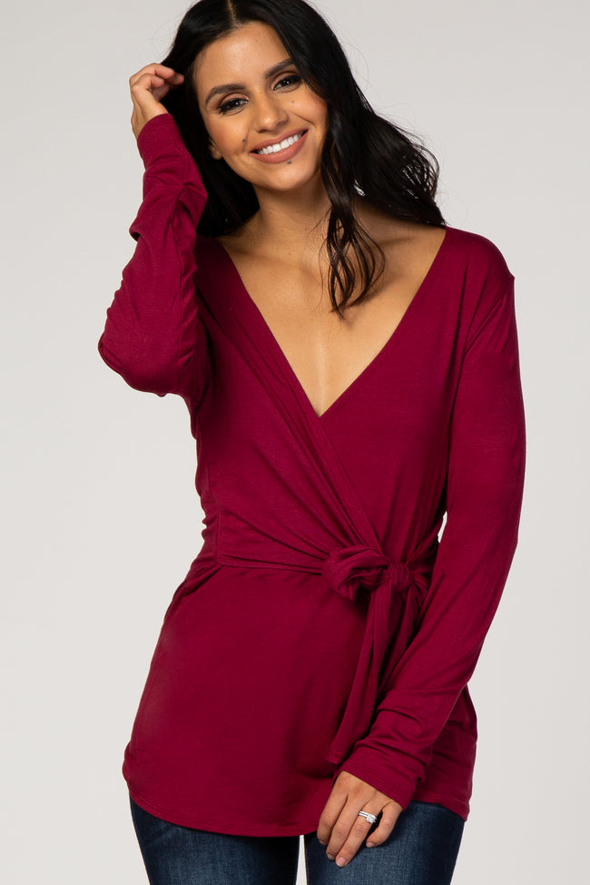 Burgundy Tie Front Long Sleeve Top