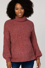 Mauve Open Back Maternity Turtle Neck Sweater