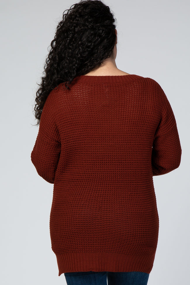 Rust Waffle Knit Slit Side Plus Maternity Sweater