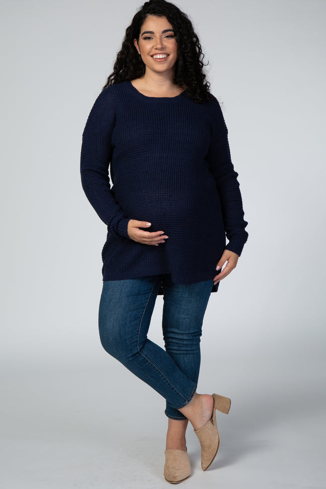 Navy Blue Round Hem Maternity Plus Sweater