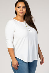 Ivory Button Front 3/4 Sleeve Plus Top