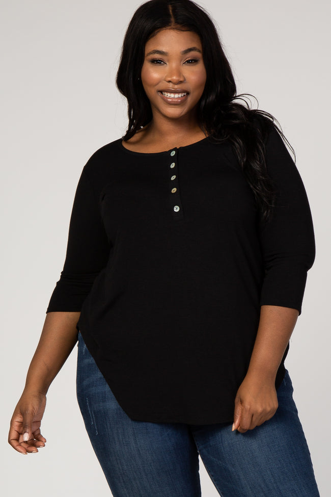 Black Button Front 3/4 Sleeve Plus Top