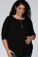 Black Button Front 3/4 Sleeve Maternity Plus Top