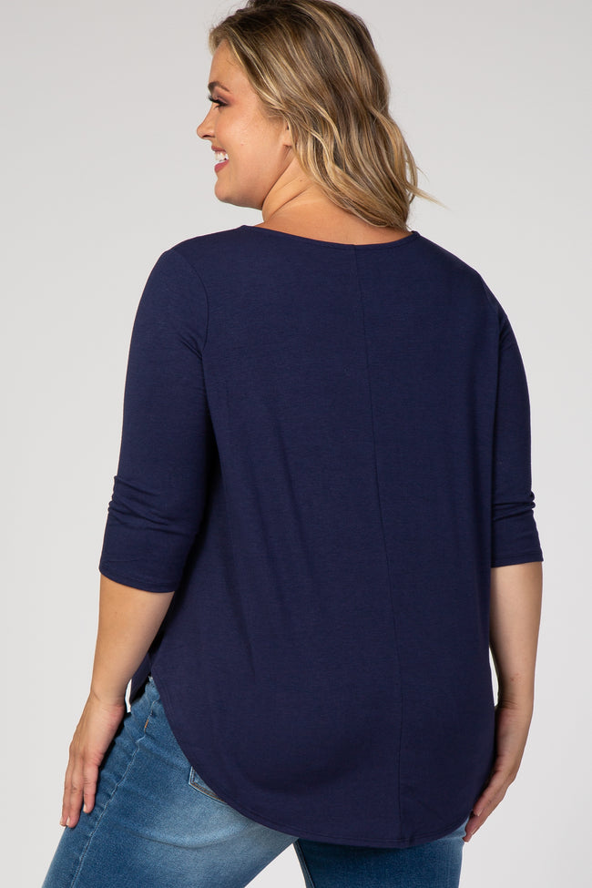 Navy Button Front 3/4 Sleeve Maternity Plus Top