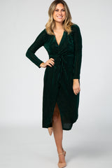 Green Velvet Knotted Plunge Dress