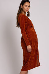 Rust Velvet Knotted Plunge Maternity Dress