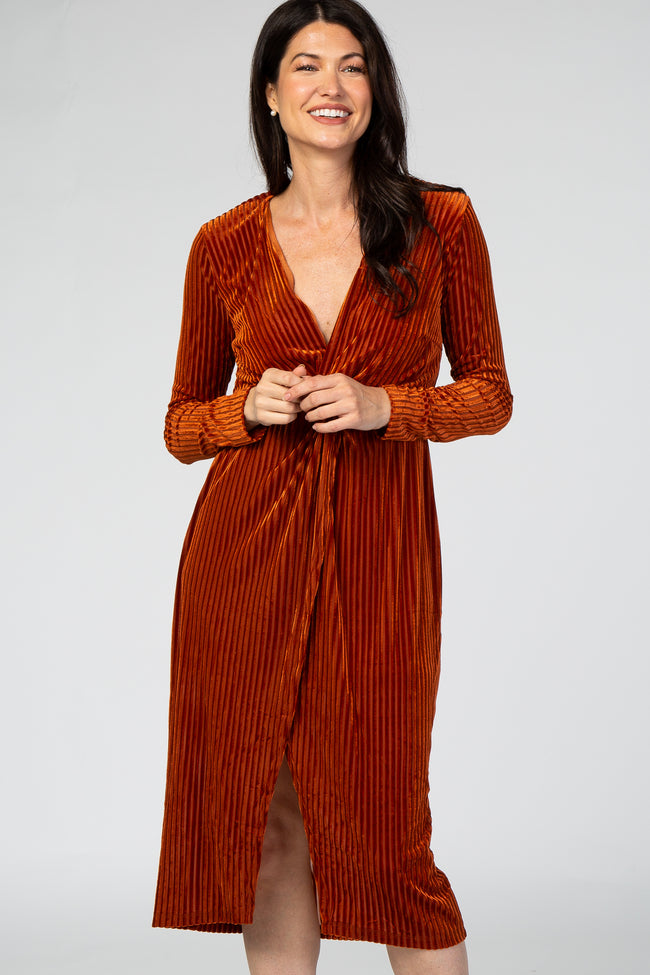Rust Velvet Knotted Plunge Dress