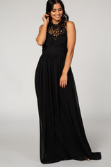 Black Crochet Lace Chiffon Evening Gown