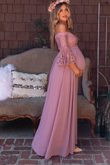Mauve Lace Off Shoulder Maternity Evening Gown