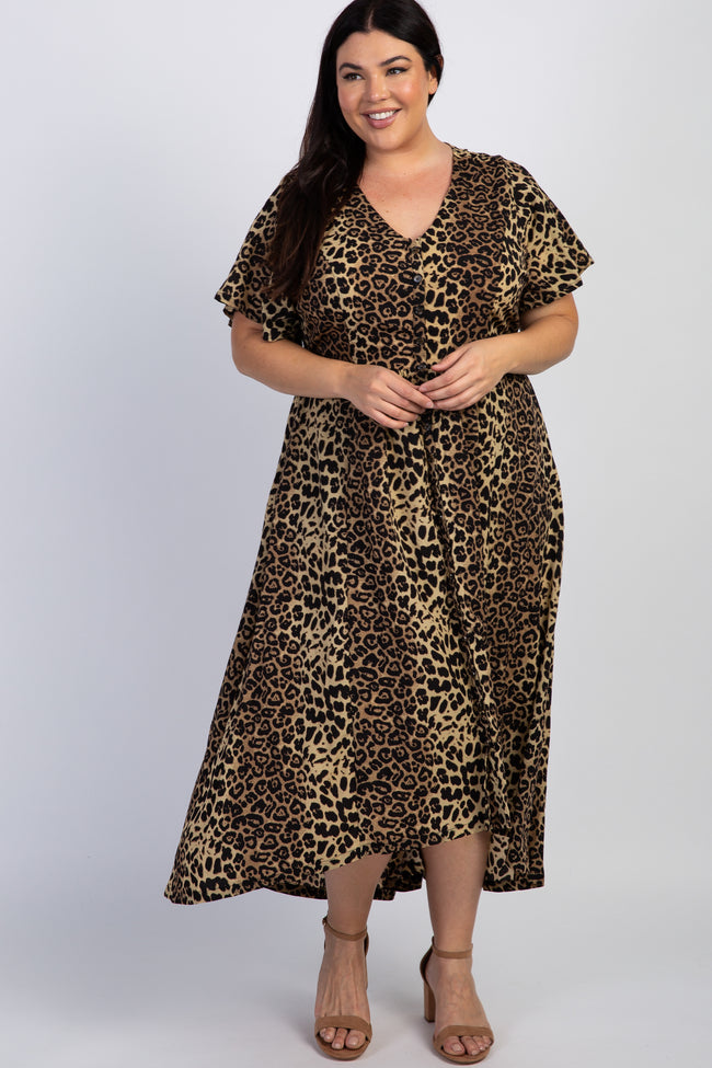 Brown Leopard Button Front Maternity Plus Dress
