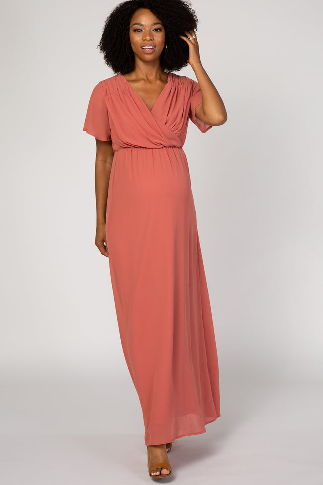 Dark Coral Chiffon Pleated Maternity Maxi Dress