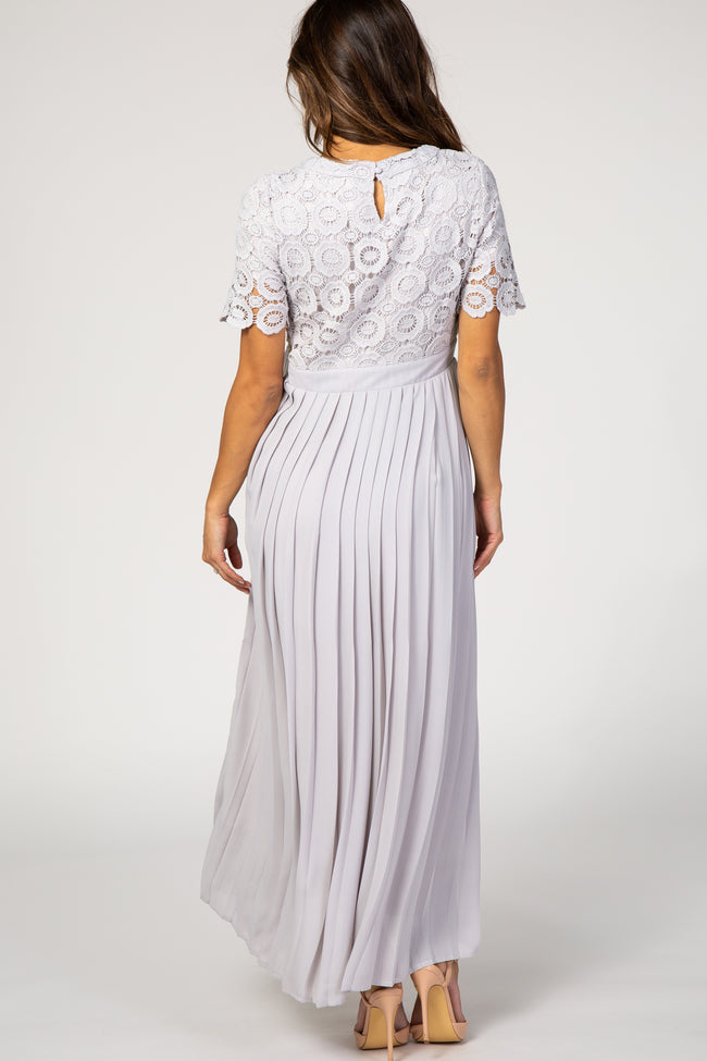 Grey Lace Top Pleated Chiffon Maternity Maxi Dress