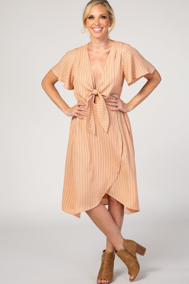 Peach Pinstriped Tie Front Wrap Dress