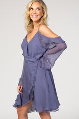 Blue Open Shoulder Ruffle Wrap Tie Dress