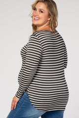 Olive Striped Long Sleeve Maternity Plus Top