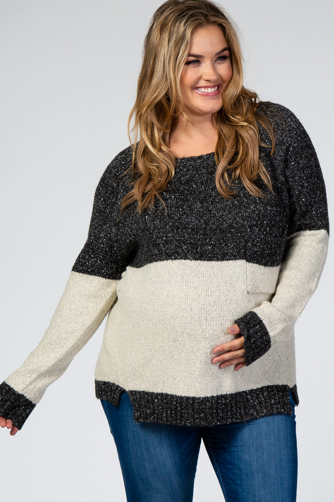 Charcoal Colorblock Plus Maternity Sweater