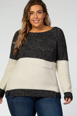Charcoal Colorblock Plus Sweater