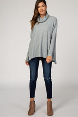 Heather Grey Long Sleeve Knit Cowl Neck Dolman Maternity Top