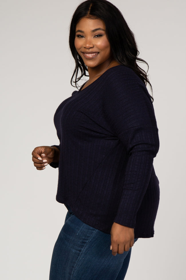 Navy Solid Ribbed Long Sleeve Plus Top