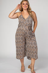 Brown Leopard Print Sash Tie Plus Maternity Jumpsuit