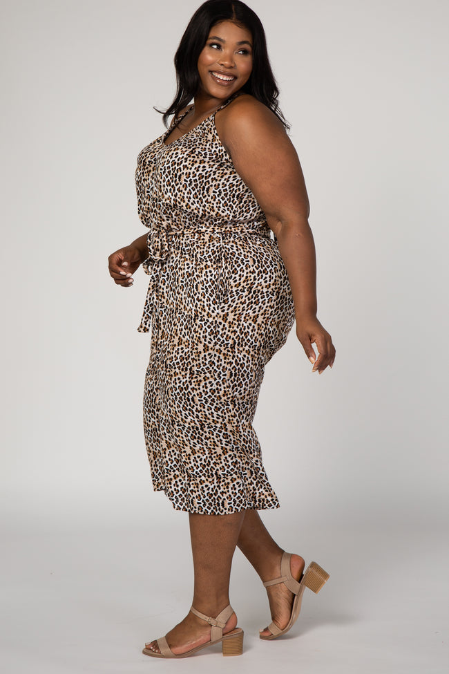Brown Leopard Print Sash Tie Plus Jumpsuit