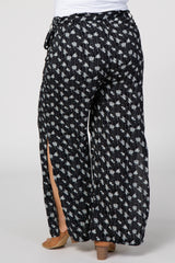 Black Floral Print Sash Tie Slit Maternity Plus Pants